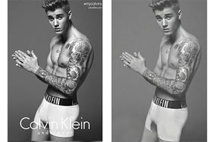 Left: Calvin Klein ad featuring photoshopped photo of Justin Beiber. Right: original photo