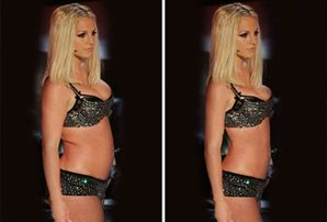 Left: photoshopped photo of Britney Spears. Right: original photo