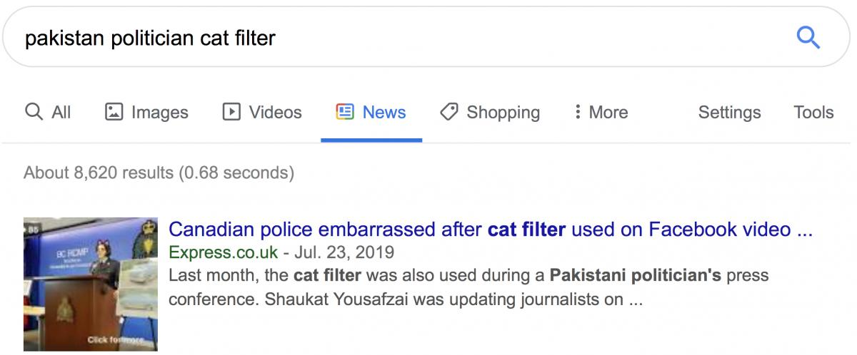 Pakistan politician cat filter search